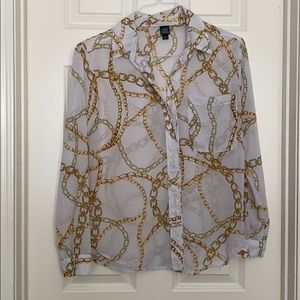 Sheer Blouse with chain pattern